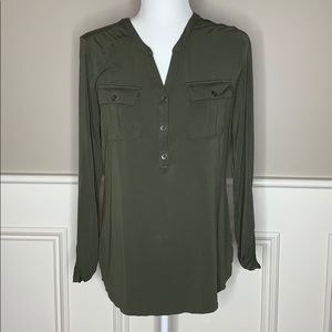 A New Day Green Half Button Top